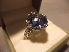 Judith Ripka Sterling Silver 925 Blue Topaz Spinel CZ Cocktail Ring Size 8