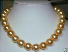 "beautiful 10mm AAA+ Gold south sea shell pearl necklace 18"" LL001"