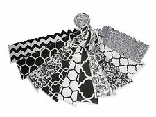 """10 2.5 """" Quilting Fabric JELLY ROLL/Black/Whites Charm pack!-10 DIFFERENT-1 EACH"""