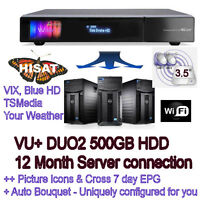 VU+ DUO2 TWIN HD Tuners 500GB Plug n play ideal back-up includes 12Month access