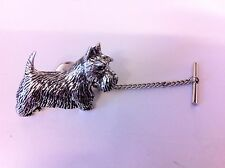 D18 Scottish Terrier Tie Pin and Chain english pewter handmade in sheffield