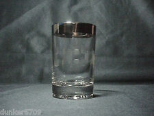 3 1/4 HIGH GLASS WITH SILVER RIM RETRO MAD MEN ERA ETCHED DESIGN