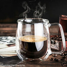 Handmade Clear Heat-Resisting Double Wall Tea Mugs Glass Coffee Cups with handle