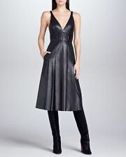 $4400 J Mendel Plunging Black Leather Dress Gown V Neck Cocktail Party Formal 10