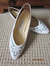 '70's vintage white/green leather flats wedge heel Penaljo size 7.5 N