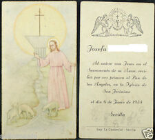 OLD FIRST COMMUNION REMEMBRANCE HOLY CARD YEAR 1954 ANDACHTSBILD SANTINI   C1029