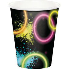 GLOW PARTY Neon 8ct HOT-COLD CUPS Birthday Party Supplies Tableware Black Light