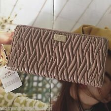 NWT 49609 Coach Madison Twist Stone Leather Accordion Zip Around Wallet $248
