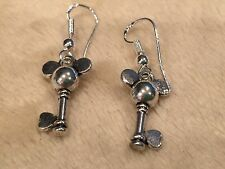 Cute Sterling Silver Ear Wire / Tibetan Mickey Mouse Key Dangle Drop Earrings