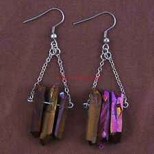 Silver Plated Natural Raw Quartz Crystal Multicolor Gemstone Hook Dangle Earring