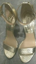 New Michael Kors Collection Suri Snakeskin Gold Party Sandal Size 8.5 US/38.5 EU