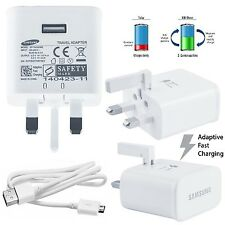 Official Samsung S7 Galaxy S7 Edge UK Wall Charger Adaptive Fast Charger + Cable
