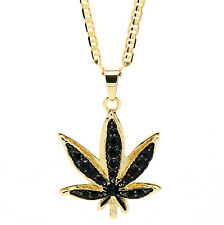 "14k Gold Plated Marijuana Black CZ Stone Pendant 24"" Gucci Chain Necklace"