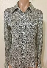 LAFAYETTE 148 NEW YORK BLACK WHITE LONG SLEEVE SILK SHIRT TOP BLOUSE SZ 10