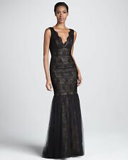 ML Monique Lhuillier Black Nude Sleeveless V-Neck Lace Tulle Gown NWT Sz 16 $598