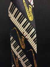 Piano Keyboard saxophone Tie by A. Rogers black Background