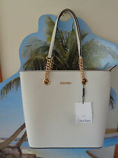 NWT LOVELY CALVIN KLEIN WHITE SAFFIANO LEATHER TOTE/SHOPPER HANDBAG
