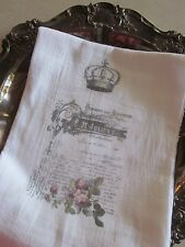 Crown FRENCH Letter/DOCUMENT Roses Tea Towel FRENCH Inspired Kitchen DECOR