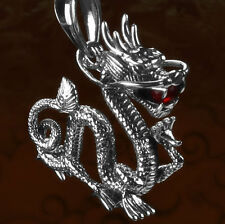 Mens Jewelry Chinese Dragon Red Crystal Solid 925 Sterling Silver Pendant BJ49