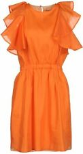 NWT $585 SEE BY CHLOE ORANGE RUFFLE 100% SILK DRESS 44  8