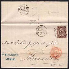 STORIA POSTALE Regno 1876 Lettera 30c da Livorno per Marsiglia (FB1)