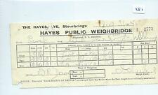 EPHEMERA -281 -HAYES PUBLIC WEIGHBRIDGE,LYE, STOURBRIDGE - WEIGH NOTE- AUG 1955