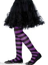 Girl's Halloween Striped Witch Tights Stripe Black & Purple 6~12 Years