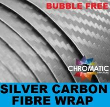 3D Carbon Fibre Vinyl 152 x 10cm Sheet - Silver - Bubble Free Car & Bike Wrap