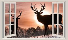 Deer Sunset Snow Window View Repositionable Color Wall Sticker Wall Mural 3 FT