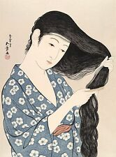 Japanese Art Print: Combing Hair by Goyo - Fine Art Reproduction