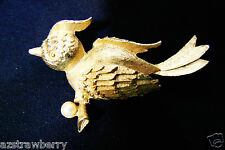 Vintage Mamselle signed gold tone white pearl faux Bird pin brooch $0ship
