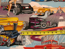 Phils 1950 Drive In Pin up Girls Hot Rods Cars BY YARDS Alexander Henry Fabric