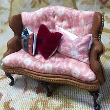 Pat Tyler Dollhouse Miniature Floral Wing Sofa Seat Couch Lounge Divan Settee