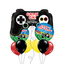 Game on You've Leveled up Happy Birthday Bouquet of Balloons Red Black Yellow
