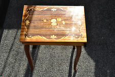 FRENCH LOUIS STYLE ITALIAN SORRENTO INLAID MARQUETRY MUSICAL SEWING TABLE