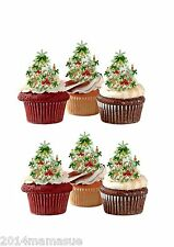 30 PRECUT CHRISTMAS TREES XMAS STAND UP EDIBLE CUPCAKE CAKE WAFER CARD TOPPERS