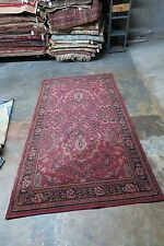 ANTIQUE ESTATE 1930's  WILTON WOOL RUG 3'10 X 7'6 TRADITIONAL PERSIAN DESIGN RED