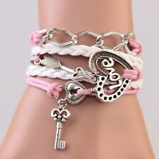Wrap Charm Bracelet Lock key Arrow Charms Infinity Bracelets for Women Jewelry S