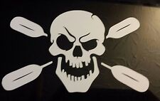 Kayak skull decal sticker kayaking paddling canoe fishing