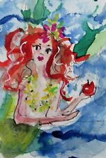 Delilah aceo mermaid apple original miniature watercolor painting fantasy