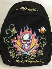 Ed Hardy Backpack Black Skull Swords Flames Cloth