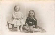 Young girls sisters vintage studio RP postcards c.1919   QR1243