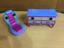 Barbie Doll Glam Dream Game Room Entertainment Center Music Chair Home Furniture