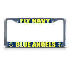 FLY NAVY BLUE ANGELS Metal License Plate Frame Tag Border Two Holes