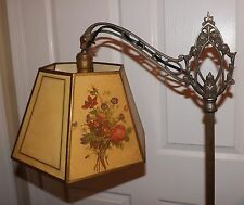 Beautiful Antique Bridge Arm Lamp Silver & Brass Finish  Roses Flowers & SHADE!