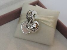 New Pandora Pink Mother & Daughter 2 pc. Heart Charm w/ HINGED Box 792072EN40