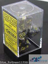 CHESSEX vortex DICE 7 DIE SET BLACK AND YELLOW D20 D12 PERCENTILE DIE..