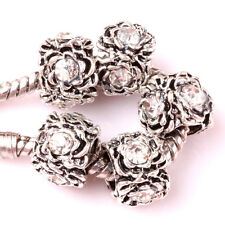 10pcs Tibetan silver white CZ spacer beads fit Charm European Bracelet #Z078