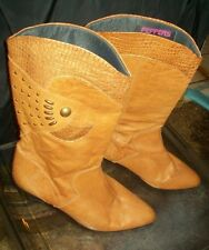 PEPPERS POSITIVELY Tan Leather Cowboy, Western Boots; Size 9 Med Heel;SPAIN