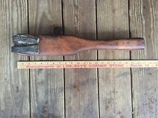 Vintage Large Wood Primitive  Farm Or Kitchen Tool , Nice Patina , Leather Strap